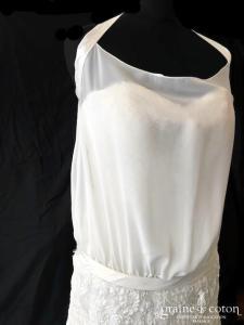 Pronuptia - Léontine (années 20 vintage dentelle fluide mousseline taille basse bohème dos boutonné)