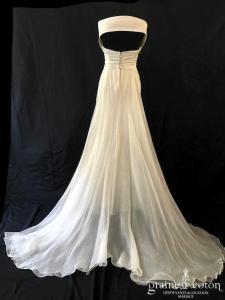 Le Spose di Gio pour Nuit Blanche - Ludovica (satin organza soie bustier manches bretelles drapé dos boutonné fluide fourreau sirène empire)