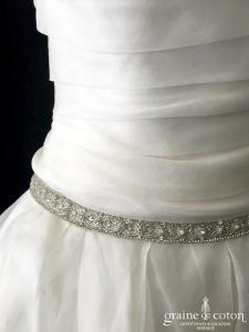 Rosa Clara - Cava (organza de soie bustier plissé mouchoirs princesse fluide taille basse dos boutonné)