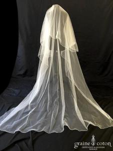 Justin Alexander - Voile en tulle ivoire clair long de 2,50 mètres tulle ivoire surjeté