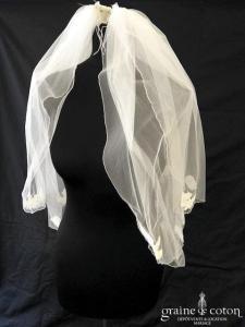 Rosemarie Gabriela - Voile court en tulle ivoire avec guipure de dentelle