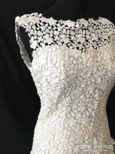 Cymbeline - Robe en guipure de dentelle et organza de soie ivoire (bretelles fluide taille basse bohème)