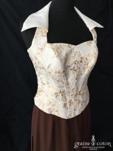 Matrimonia - Ensemble bustier et pantalon ivoire et chocolat (taffetas mousseline fluide bretelles tour de cou laçage)