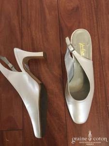 Julia - Escarpins (chaussures) en cuir ivoire bouts carrés