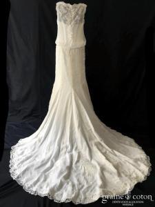 Pronovias - Balancin (taille basse mousseline dentelle fluide bohème bretelles droite dos boutonné fourreau sirène)