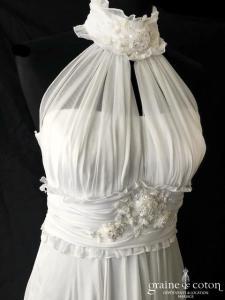 Oksana Mukha - Magdalena 5 (mousseline blanche tour de cou fluide empire taille haute bretelles laçage)