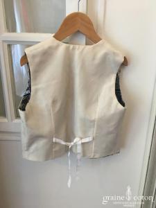 Graine de coton - Gilet en taffetas ivoire pour petit garçon d'honneur doublé en cotonnade japonaise
