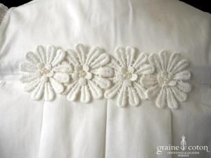 Hibiscus - Robe demoiselle d'honneur petite fille à manches ballon blanche et fleurs en coton
