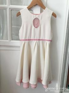 Hibiscus - Robe demoiselle d'honneur petite fille en crêpe rose et ivoire