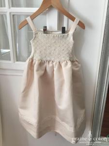 Hibiscus - Robe demoiselle d'honneur petite fille à smocks ivoire avec boléro