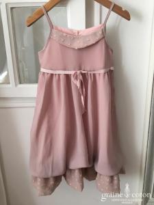 Hibiscus - Robe demoiselle d'honneur petite fille en mousseline rose poudré et fines bretelles