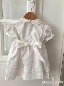 Hibiscus - Robe demoiselle d'honneur petite fille en coton blanc manches courtes ballon avec bloomer