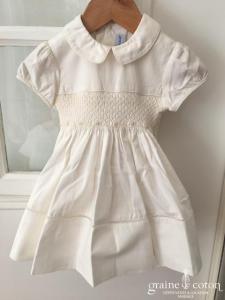 Hibiscus - Robe demoiselle d'honneur petite fille en coton blanc manches courtes