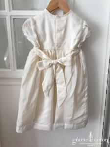 Hibiscus - Robe demoiselle d'honneur petite fille en mousseline ivoire