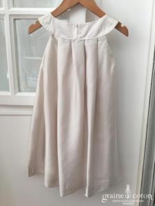 Hibiscus - Robe demoiselle d'honneur petite fille en mousseline champagne