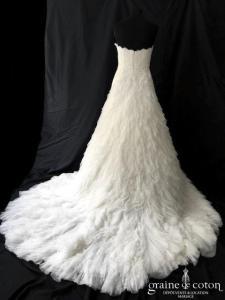 Pronovias - Imaz (bustier coeur plumes dentelles mouchoirs tulle soie)