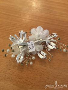 Bianco Evento - Coiffe pince fleur en organza ivoire et strass (6429)