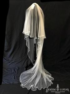 Bianco Evento - Voile double long de 220 cm en soft tulle ivoire bordé de satin (S208 avec rabat)