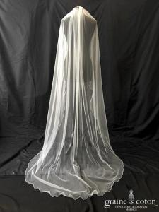 Bianco Evento - Voile simple long de 220 cm en soft tulle ivoire surjeté (S166 sans rabat)