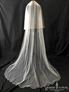Bianco Evento - Voile double long de 220 cm en soft tulle ivoire surjeté (S165)