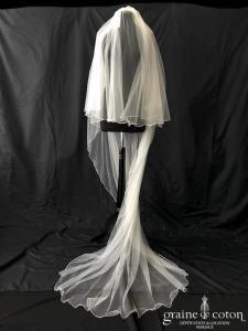 Bianco Evento - Voile double long de 220 cm en soft tulle ivoire surjeté (S165 avec rabat)