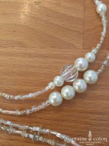 Pronovias - Sautoir à nouer en perles ivoires et transparentes