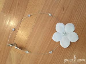 Création - Collier tour du cou 1 rang avec fleur et perles transparentes