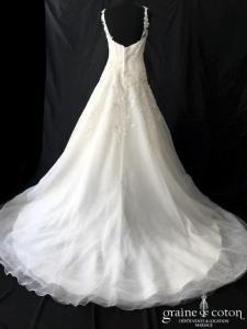 Elianna Moore - Robe drapée en tulle et dentelle (coeur manches bretelles dentelle dos-nu)