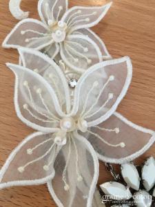 Reminiscence - Headband ou collier en perles et dentelles ivoire