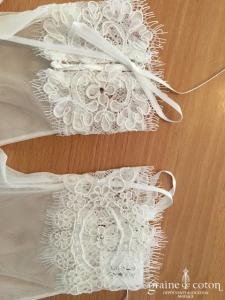 Bianco Evento - Gants courts en tulle et dentelle ivoires (B20)
