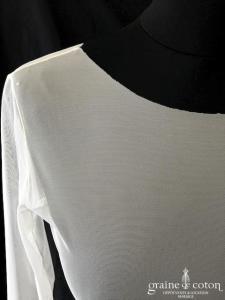 Bianco Evento - Boléro à porter sous les bustiers en tulle stretch ivoire à manches longues (E220)