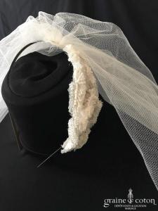 Jesus Peiro - Voile court en tulle ivoire clair brut monté sur serre tête
