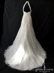 Miss Kelly - Robe sirène en tulle et dentelle (encolure américaine tour de cou perles tulle fluide)