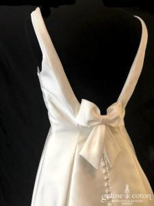 Pronovias - Tona (mikado bretelles taille basse dos-nu dos boutonné)