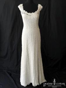 Cymbeline - Robe fourreau en dentelle ivoire (bretelles dos boutonné taille basse droite fluide sirène bohème)