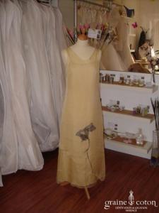 Gonnella - Robe et sur robe longues en soie jaune (non stocké en boutique, essayage sur demande)
