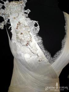 Jenny Packham - Minerva (tulle de soie drapé bretelles dos-nu fluide dentelle decollete-V taille basse)