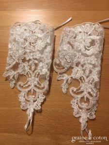 Création - Mitaines ivoires courtes en dentelle perlée