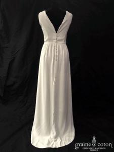 Atelier Anonyme - Robe en crêpe de soie ivoire (bretelles dos-nu fluide droite bohème)