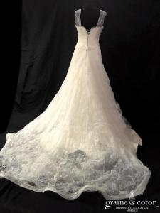 Nathalie Ettedgui - Création en soft tulle et dentelle de Chatilly (bretelles drapé dos-nu fluide dos boutonné bohème)