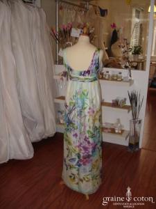 Zara - Robe en soie fluide fleurs multicolores (non stocké en boutique, essayage sur demande)
