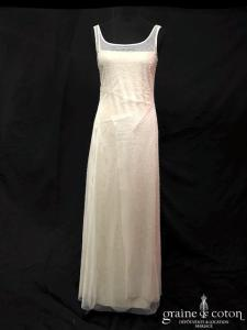 BGBG Max Azria - Robe champagne et tulle fluide ivoire (bretelles perles droite)