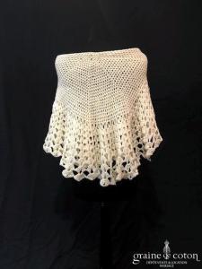 Création maison - Étole / cape  / châle en laine crème