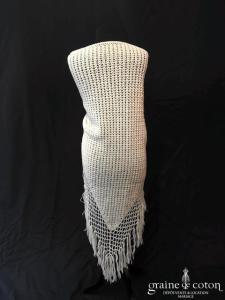 Création maison - Châle à franges en laine blanche irisée