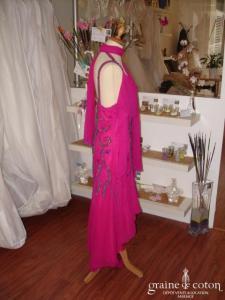 Roma - Robe fushia en soie (non stocké en boutique, essayage sur demande)