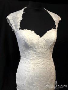 Cymbeline - Robe sirène en dentelle ivoire (fluide tulle bretelles dos-nu bohème coeur)