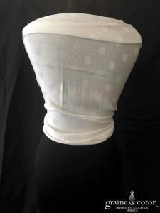 Création - Étole façon pashmina en coton ivoire clair