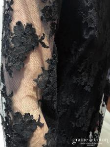 Delphine Manivet - Théodore noire (courte dentelle empire manches longues bohème fluide bretelles)
