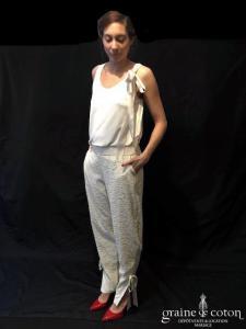 Delphine Manivet - Top en jersey de soie ivoire (bretelles fluide)