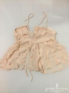 Delphine Manivet - Top lingerie en mousseline de soie rose poudrée (bretelles fluide)